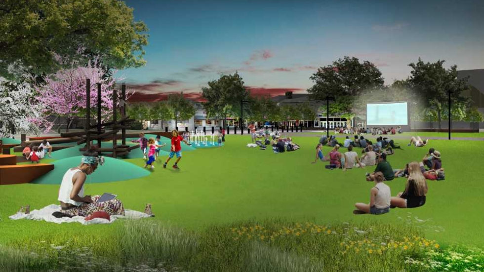 Architectural rendering of the great lawn. The play area and the stage are meant to be built-in safety barriers from the traffic around the Square.