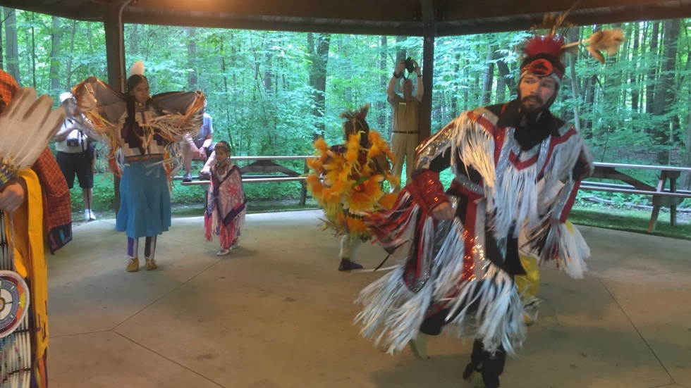 Native American dancers perform at Xtinguish Torch Fest at Headwaters Park in Geauga County.