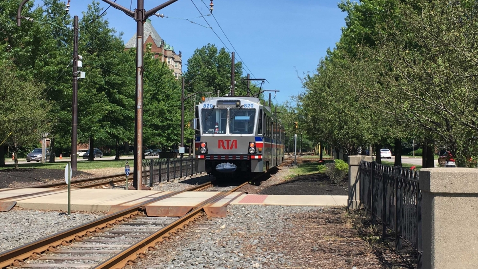 RTA train pulling in at Shaker Square