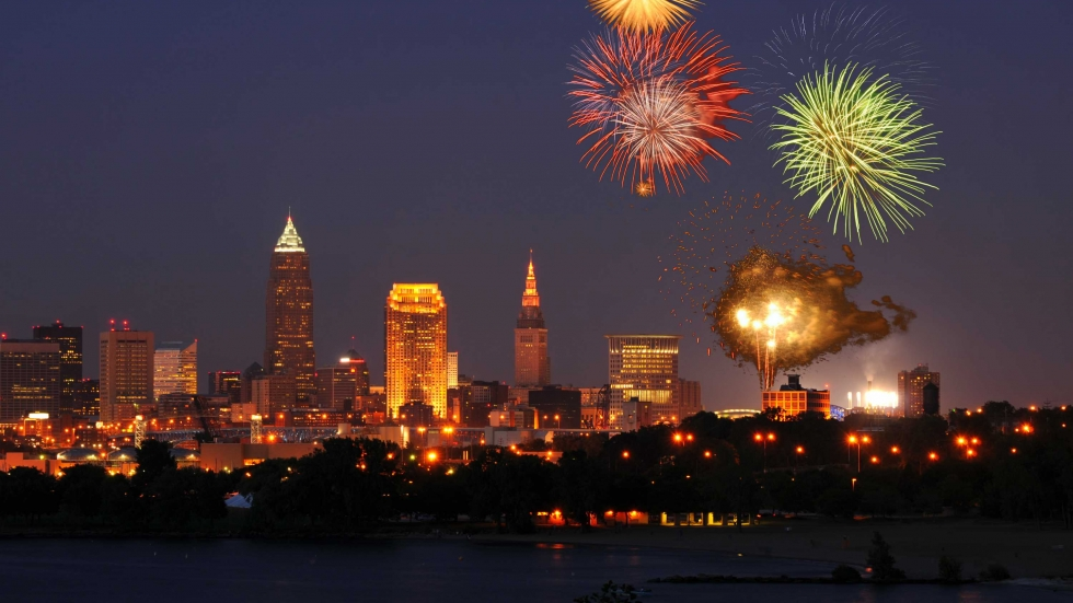 fireworks over downtown Cleveland