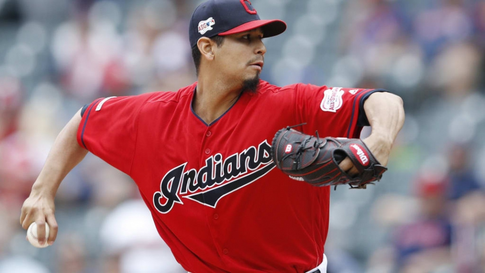 right-handed Cleveland Indians pitcher Carlos Carrasco