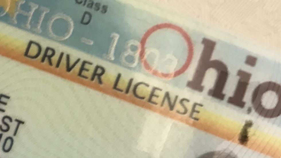 Image of a portion of the Ohio State Driver's License.