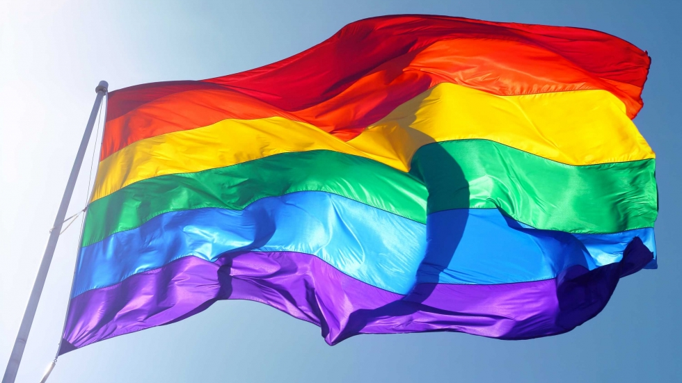 A rainbow flag flutters in the wind.