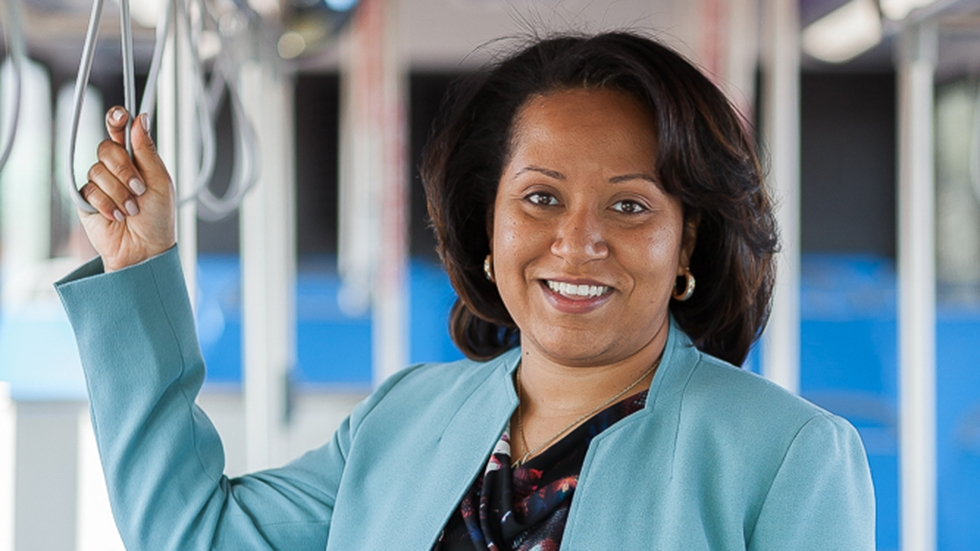 India Birdsong, the newly chosen leader of Cleveland's transit agency, photographed on a bus