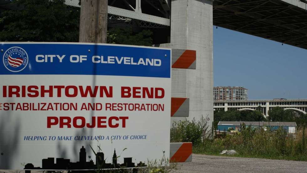 Sign for the city of Cleveland's Irishtown Bend Stabilization and Restoration Project