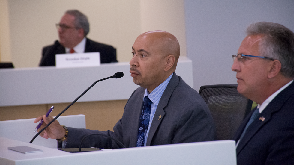 Cuyahoga County Sheriff Clifford Pinkney and his attorney, Richard Blake, answer the county council's first-ever subpoena to answer questions about the deterioration of conditions at the jail.
