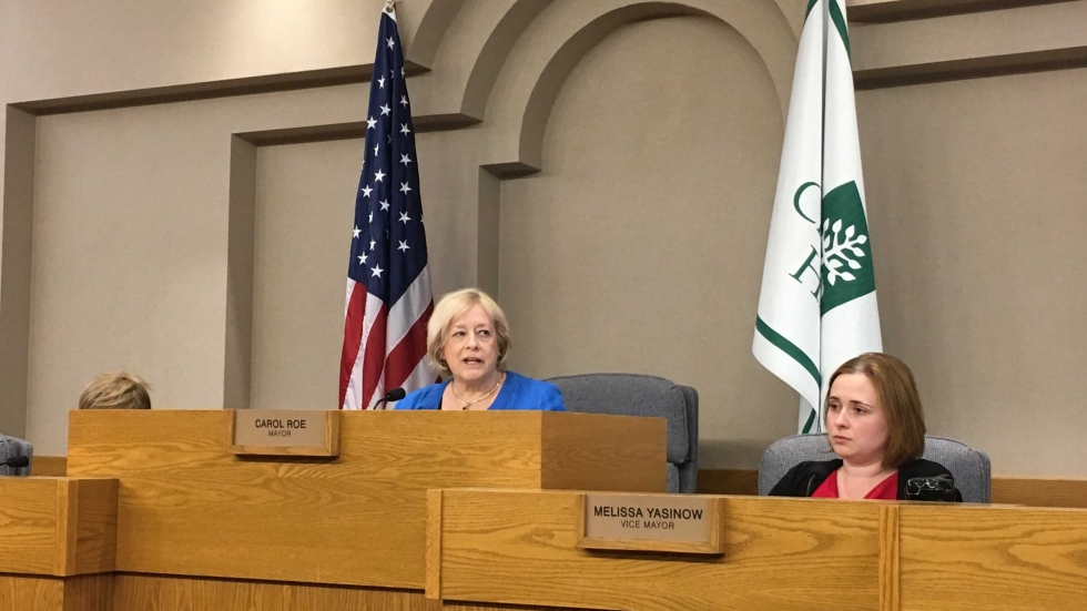 Cleveland Heights Mayor Carol Roe and Vice Mayor Melissa Yasinow at Monday's council meeting.