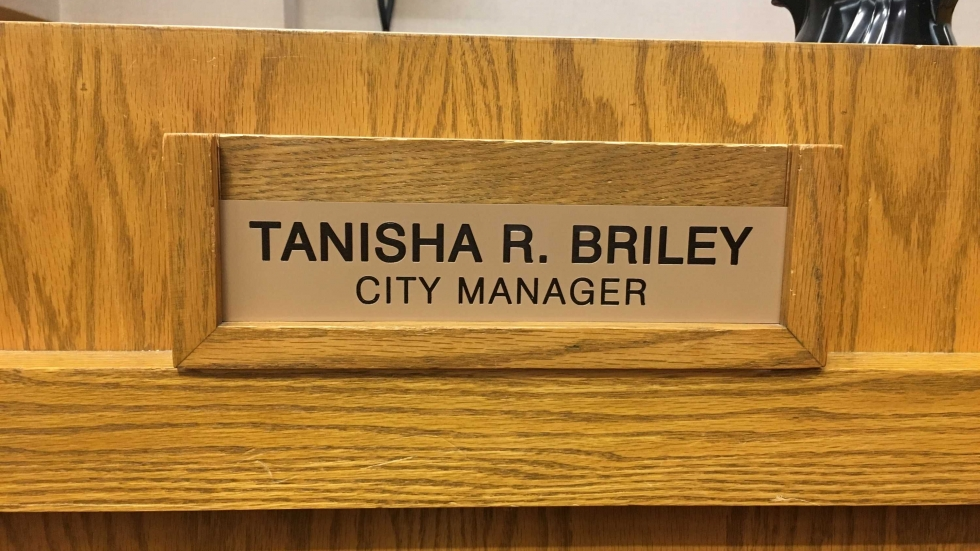 Name plate in council chambers of Cleveland Heights City Manager Tanisha Briley.