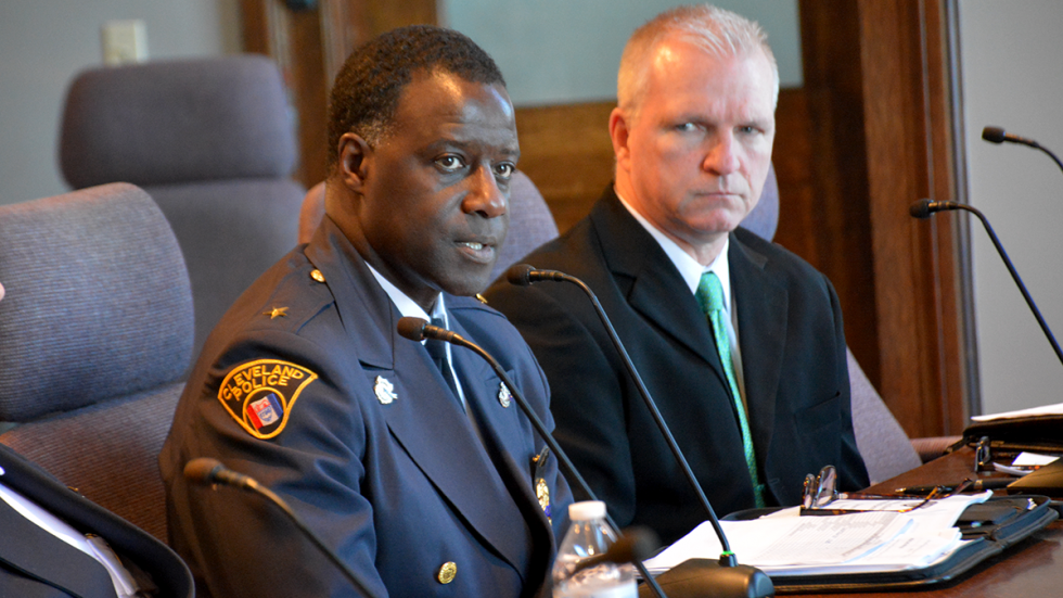 Cleveland Police Chief Calvin Williams addresses city council in March.