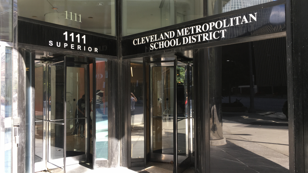 A photo shows the Cleveland Metropolitan School District headquarters in Cleveland.