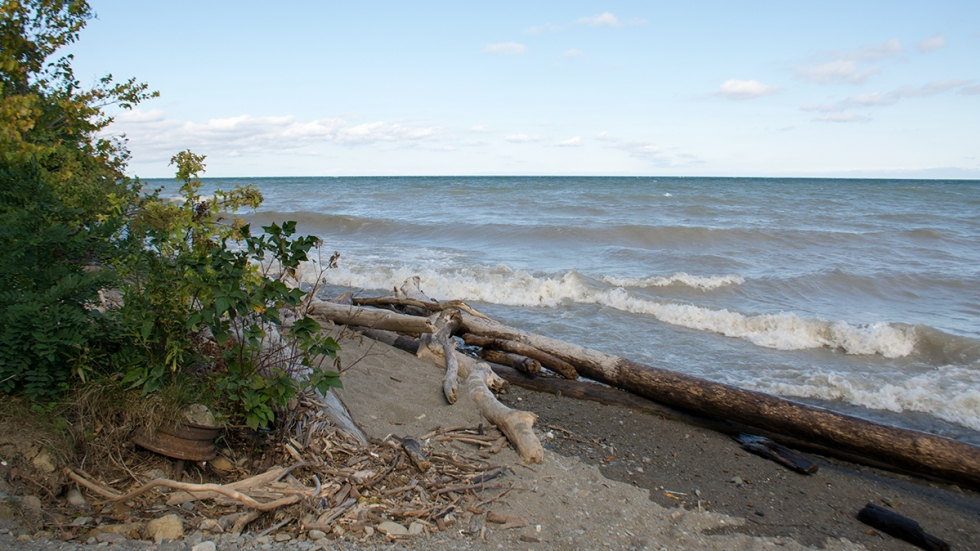 Waves crash on the shoreline at Lake Erie Bluffs in Perry.