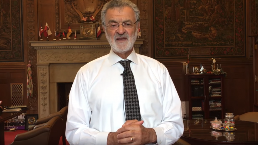 Cleveland Mayor Frank Jackson stands in his office in a video released by his office.