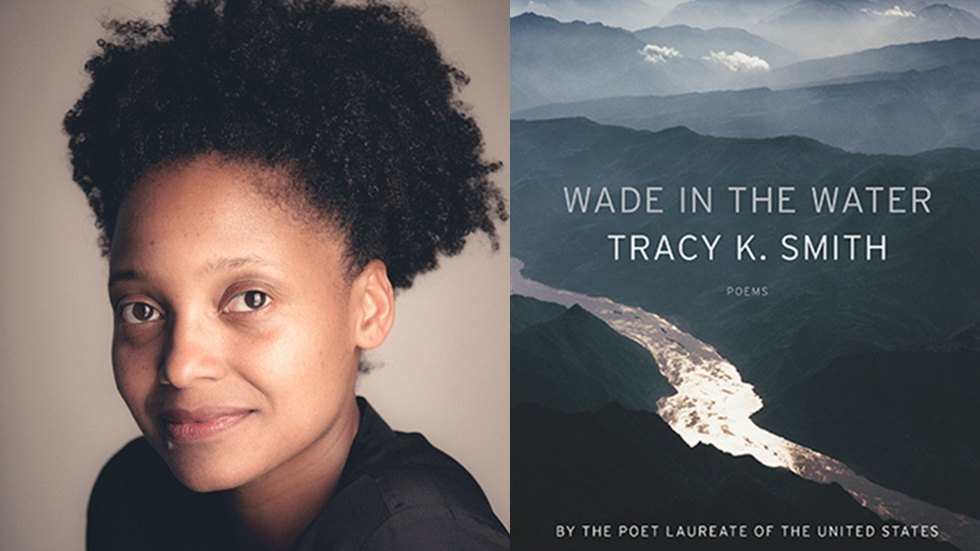 Tracy K Smith and the cover of her book, Wade in the Water