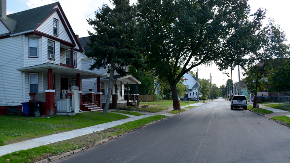 A row of houses in Cuyahoga County.