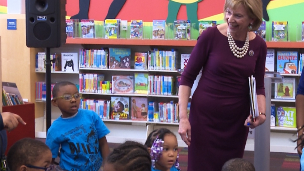Ohio First Lady Fran DeWine read to children at the Warrensville Heights Library.