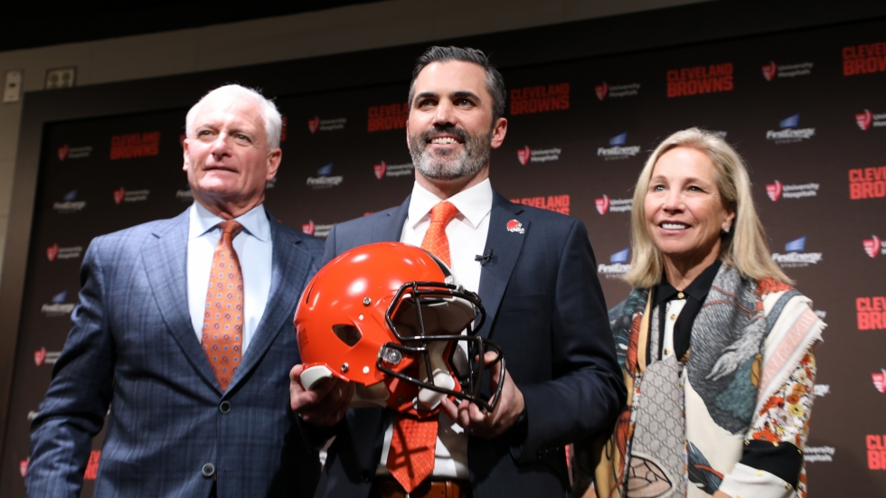 New Browns head coach Kevin Stefanski was introduced Tuesday by team owners Jimmy and Dee Haslam. [Tim Dubravetz // ideastream]