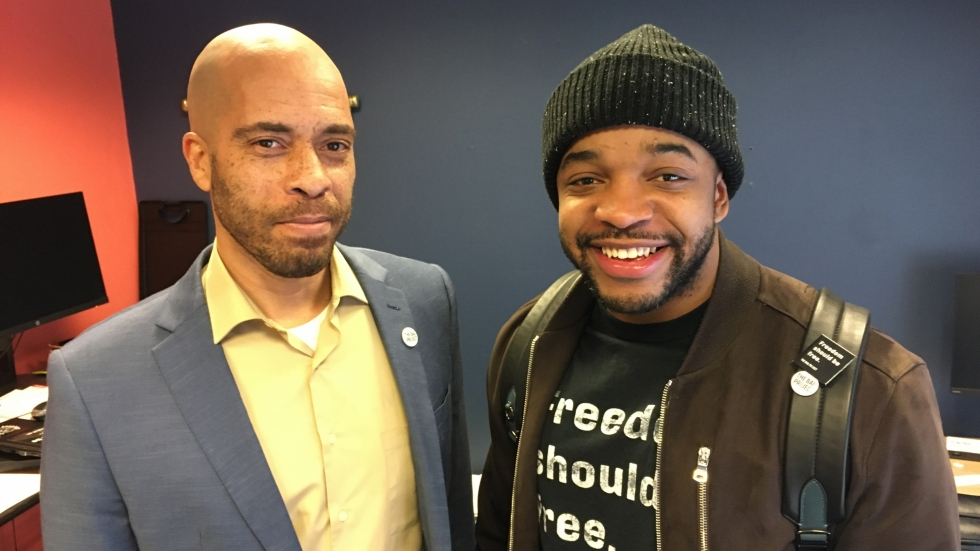 Kareem Henton, left, and Anthony Body, right, make up the Bail Project's team in Cleveland.