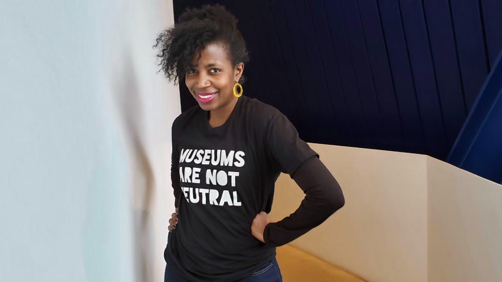 "La Tanya Autry wears her ""Museums Are Not Neutral"" T-shirt"