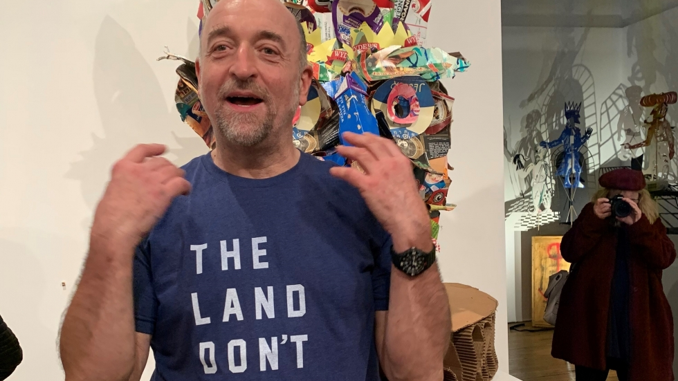 """Claudio Orso at the opening of """"Panta Rhei"""" exhibition at Bostwick building gallery"""
