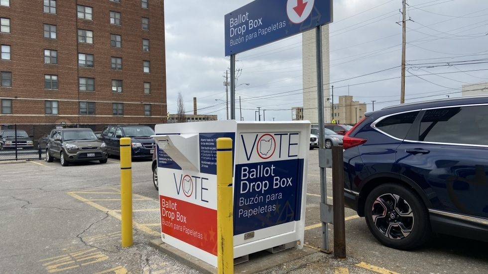 The Cuyahoga County Board of Elections collects absentee ballot requests, voter registration forms and completed ballots at the dropbox in the board's parking lot.