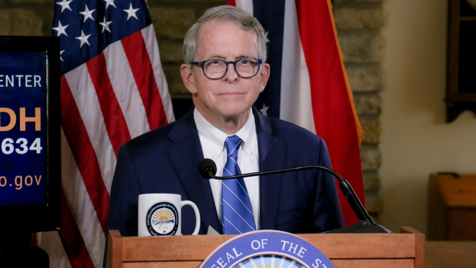 Ohio Gov. Mike DeWine delivers his regular coronavirus briefing from his home in Cedarville in September