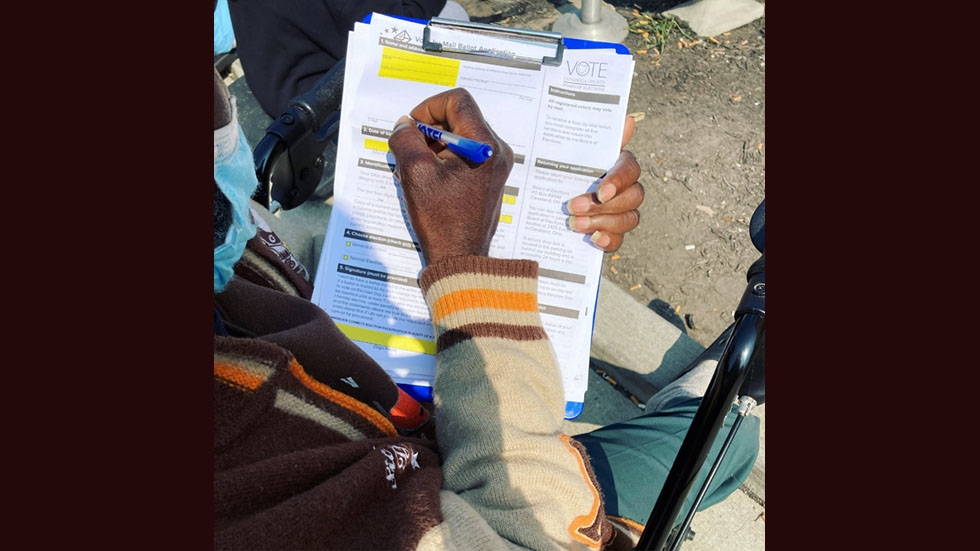 James Harrison registered to vote for the first time this year with the help from advocates at the Northeast Ohio Coalition for the Homeless (NEOCH).
