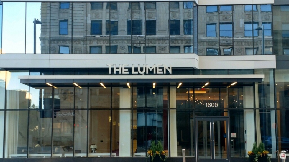 the Lumen Tower in Downtown Cleveland's Playhouse Square