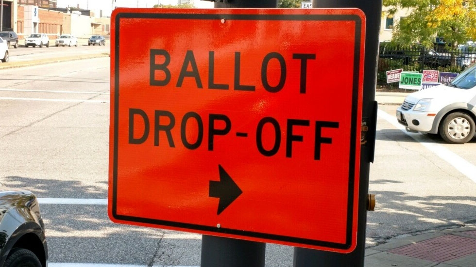 ballot drop-off sign