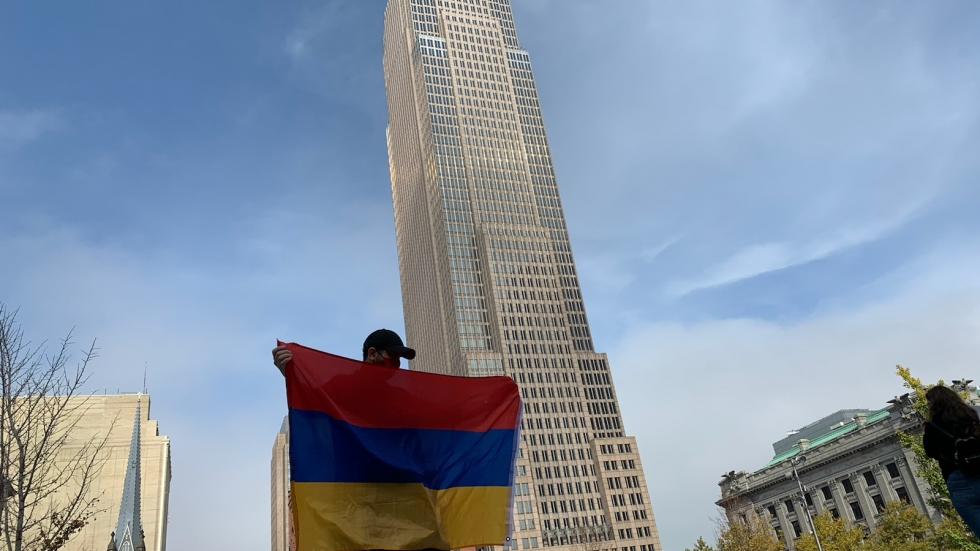 Members of Cleveland's Armenian community gathered in Downtown Cleveland's Public Square. [Gabriel Kramer / ideastream]