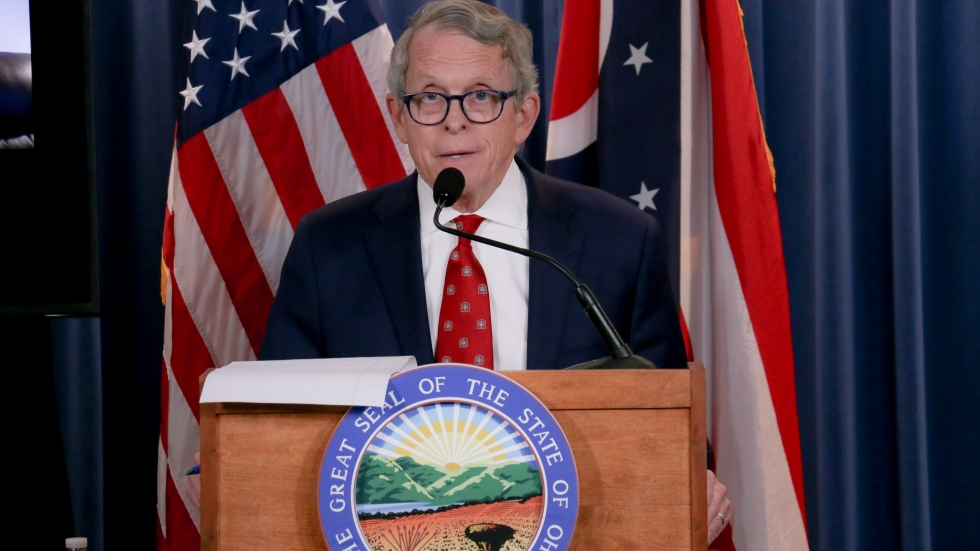 Gov. Mike DeWine addresses the public during a press briefing. [Office of Gov. Mike DeWine]