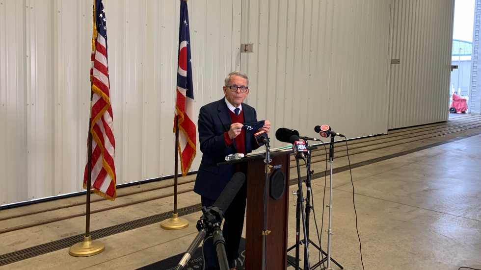 Gov. DeWine has encouraged Ohioans to comply with the state's face mask mandate as COVID-19 cases continue to rise in Ohio. DeWine spoke to media about this at the Burke Lakefront Airport in Cleveland Monday, October 19, 2020. [Anna Huntsman / ideastream]