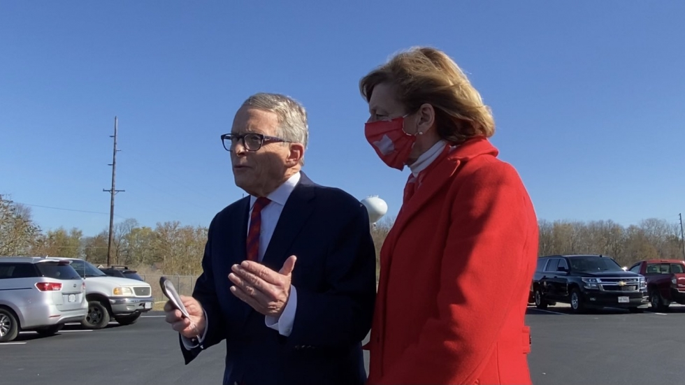 Gov. Mike DeWine with wife Fran in line to vote near their home in Cedarville.