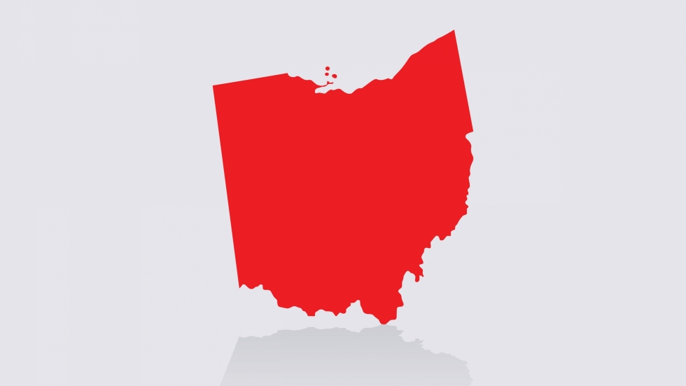 An image of the state of Ohio, in red. [Shutterstock]