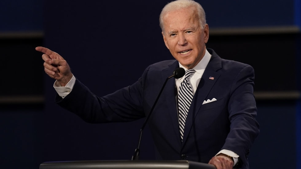 Democratic presidential candidate former Vice President Joe Biden gestures while speaking during the first presidential debate Sept. 29, 2020, at Case Western University and Cleveland Clinic, in Cleveland.