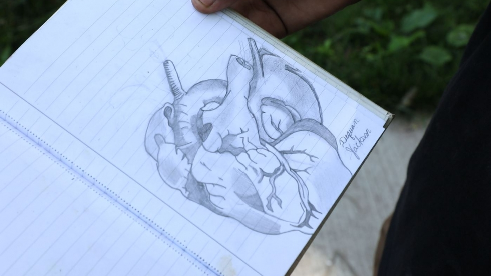 Hearts are among Dequan Jackson's favorite subjects for drawing.