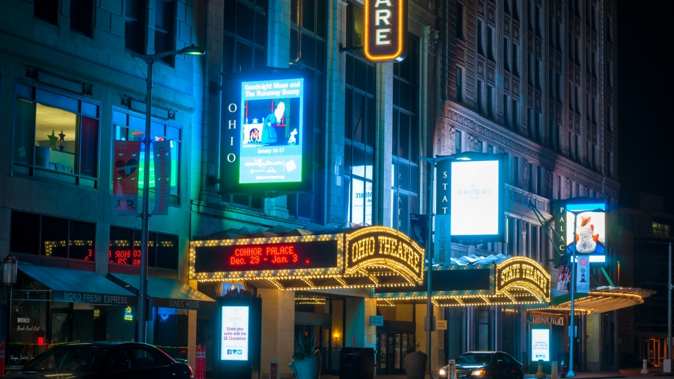 Playhouse Square theaters at night in 2016.