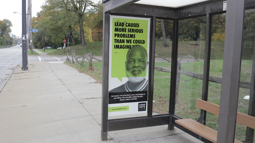Billboards in bus stops are part of the Lead Safe Cleveland Coalition's outreach as it launches the Lead Safe Resource Center. [Jamal Collins/Lead Safe Cleveland Coalition]