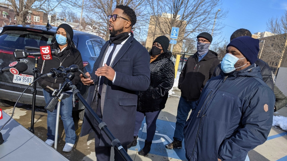 Stanley Jackson, from the Cochran Firm, speaking to reporters outside the Boys and Girls Club on Dec. 3.