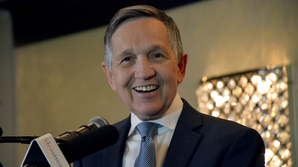 Former Rep. Dennis Kucinich, shown here conceding the Ohio Democratic gubernatorial primary to Richard Cordray in 2018, filed paperwork to raise money for a potential Cleveland mayoral bid.