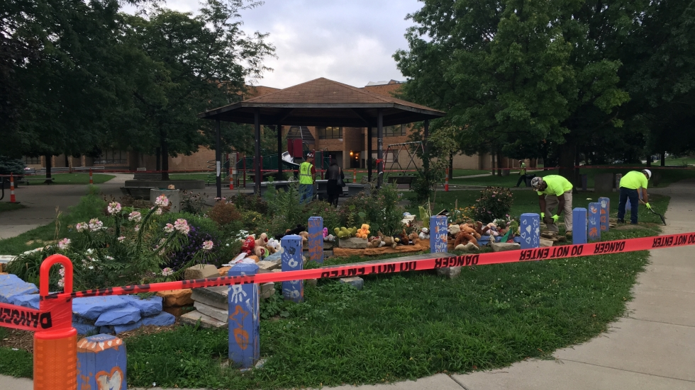 Memorial garden dedicated to the memory of Tamir Rice beside the gazebo where he was shot outside Cudell Recreation Center in Cleveland, Ohio.