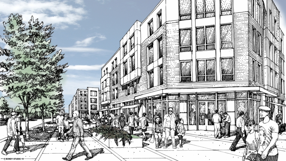 A rendering shows the planned first phase of the Woodhill plan.