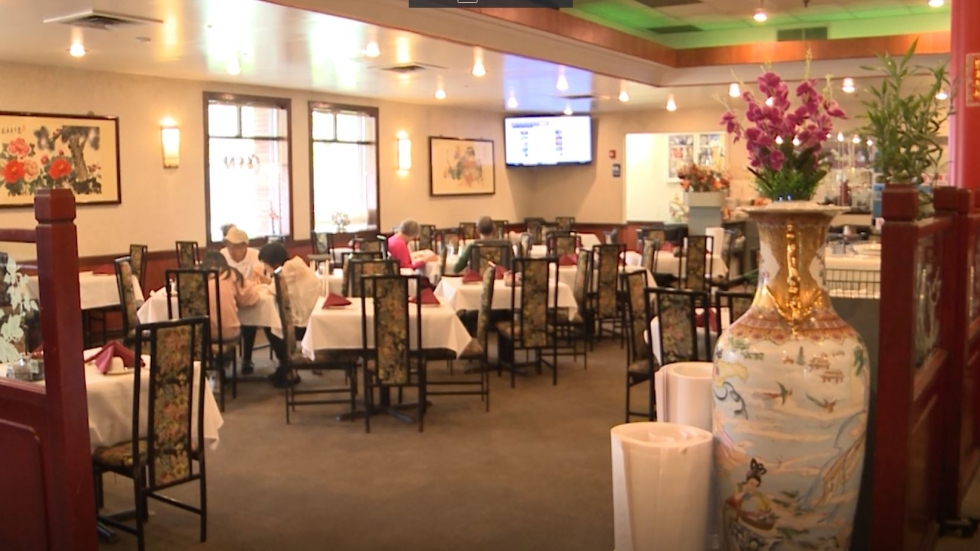 the mostly empty interior of a Chinese restaurant