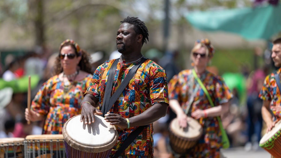 Drummers perform at Parade the Circle in Cleveland.