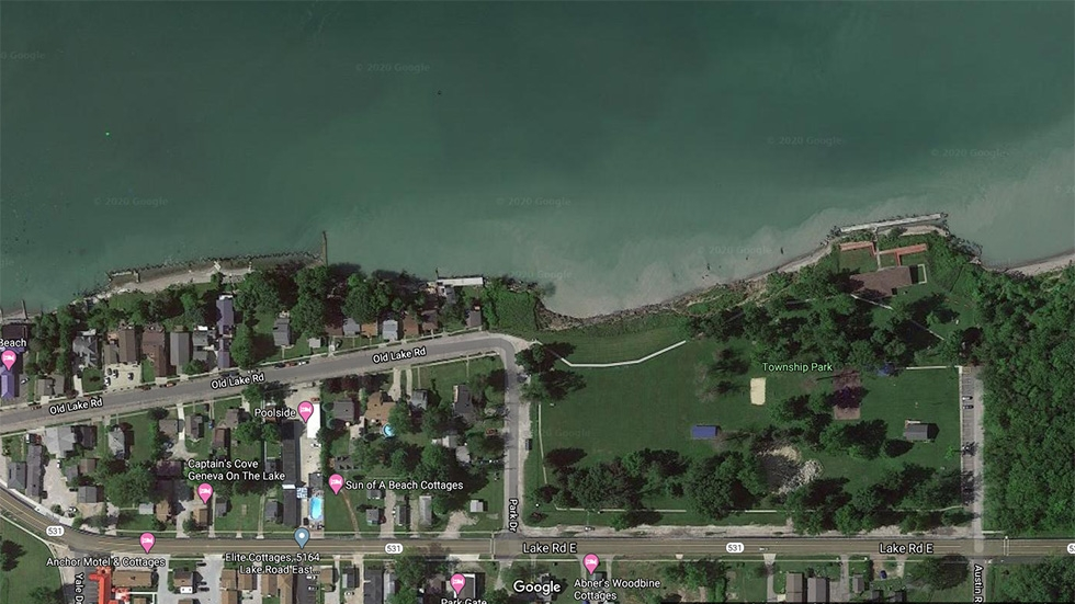 An aerial view of the shoreline along Geneva Township Park and Geneva-on-the-Lake.