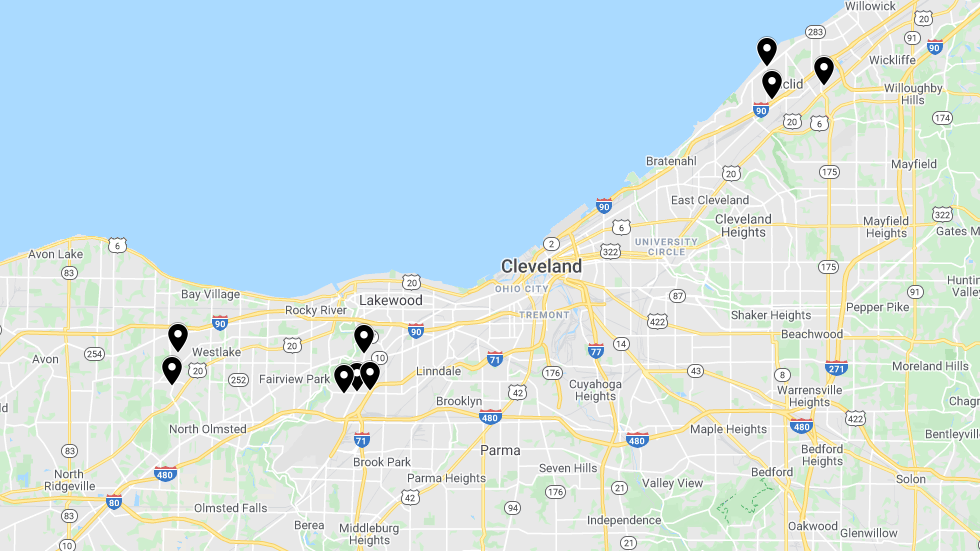a map of Northeast Ohio with markers on the locations where polling places will temporarily change for the March 17 primary