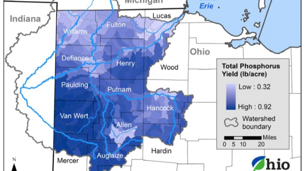A map shows sources of nutrient pollution in Ohio.