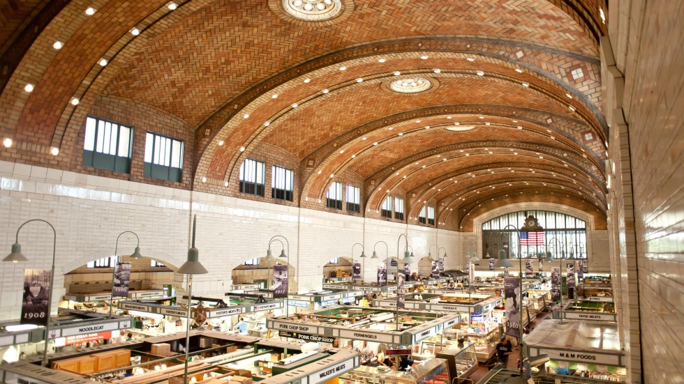 interior of the West Side Market, including the intricate tiled ceiling