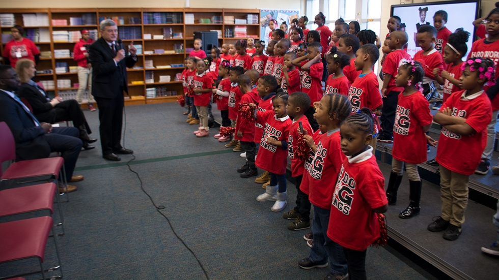 Kindergarteners at Wade Park School in Cleveland greeted U.S. Census Bureau Director Steven Dillingham with a song.