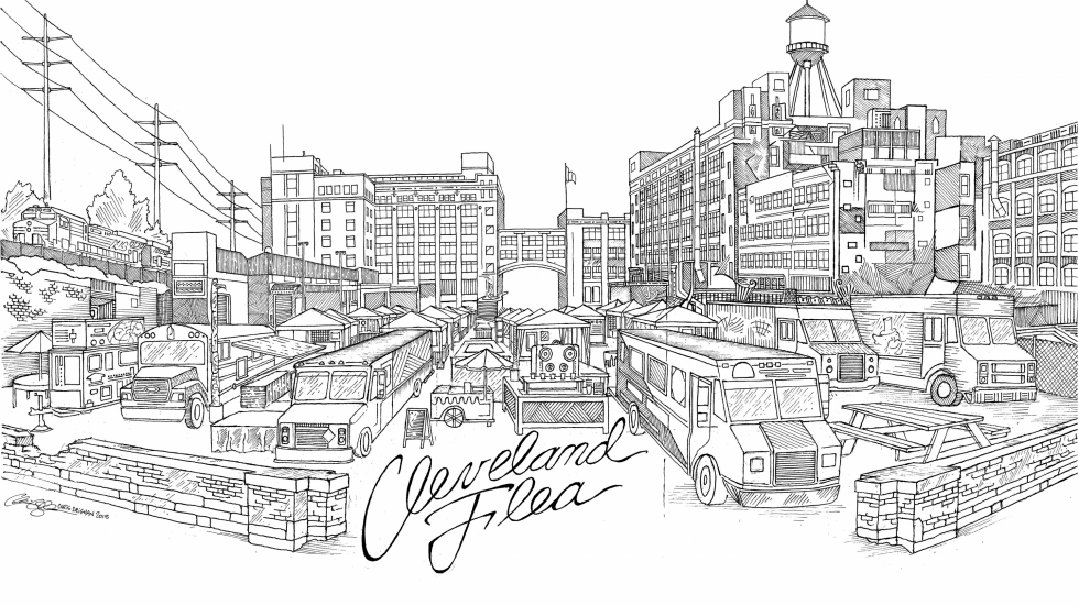 Artist Chris Deighan created this drawing of the Cleveland Flea