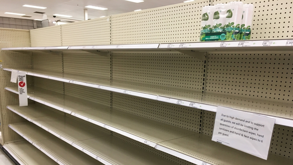 empty shelves at a Target in suburban Cleveland